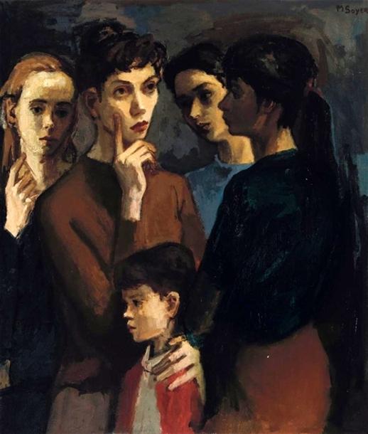 Standing Women And Child