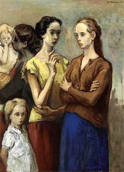 Standing Women And Children