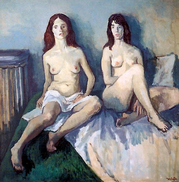 Two Female Nudes Sitting On A Bed