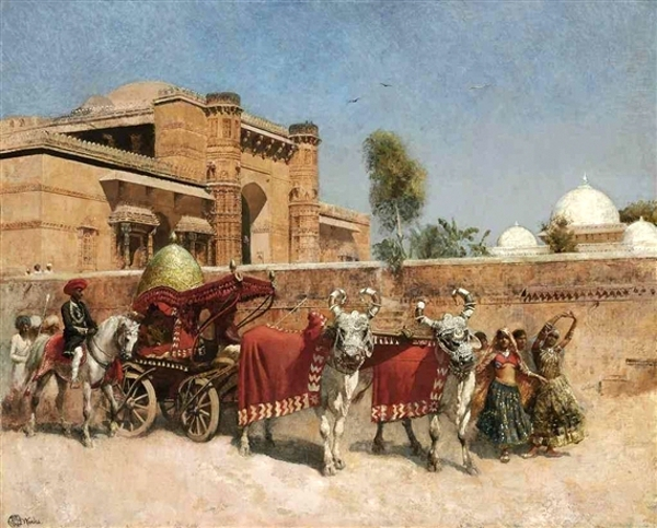 A Wedding Procession Before A Palace In Rajasthan