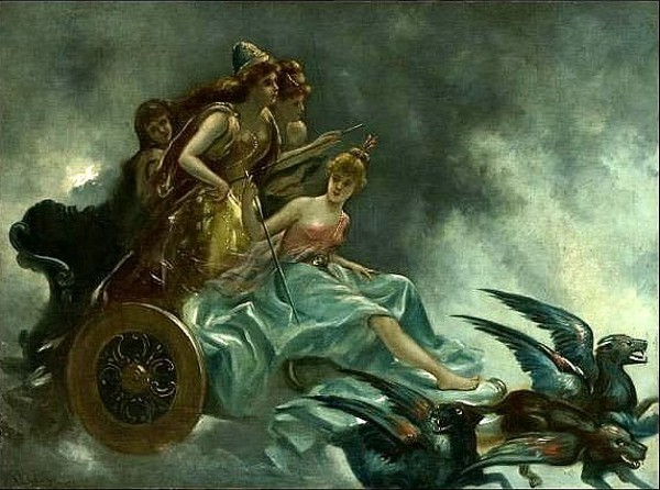 Allegorical Scene With Four Women On A Chariot