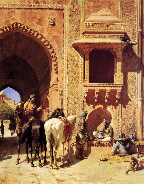 Gate Of The Fortress At Agra, India