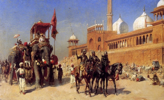 Great Mogul And His Court Returning From The Great Mosque At Delhi, India