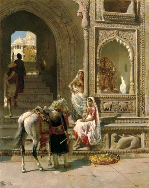 Meeting At The Steps Of A Temple Gateway, Muttra