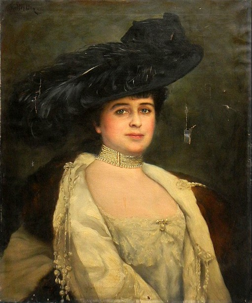 A Lady Wearing A Plumed Hat