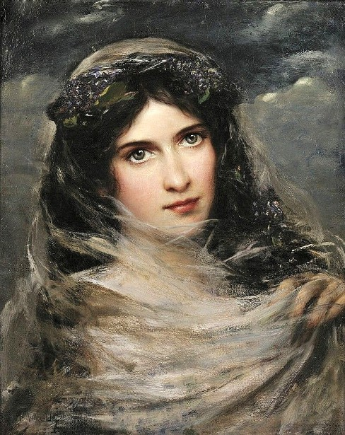 Dark-Haired Beauty In A White Veil