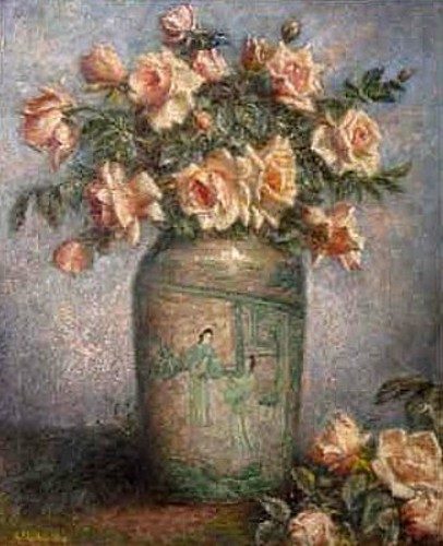 Still Life With Chinese Vase And Pink Roses