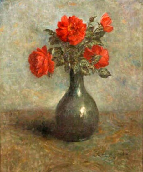 Still Life With Vase Of Roses