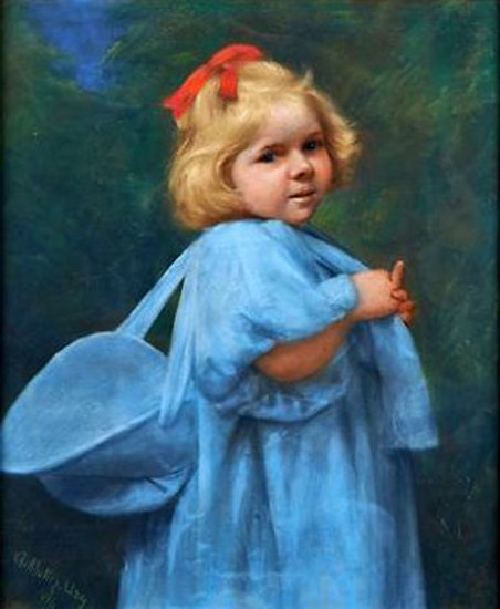 Young Girl With A Blue Bonnet